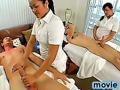 Two sexy masseuses with hot ass get drilled by active visitors