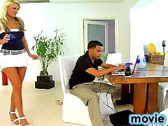 Nice bigtitted blonde milf gets caught and drilled hard