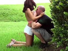Perky tit brunette girl sucks outdoors and fucks hard big cock
