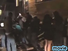 Pretty lusty club chick getting gaped after late cool party