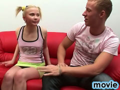 Gorgeous blonde teen virgin sucking and getting gaped