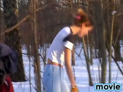 Hot brunette doing wild thing exposing her body outdoors