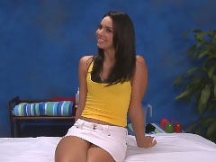 Brunette babe rides her wet shaved snatch on a big dick